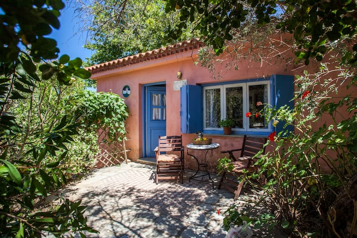 Charming pink villa in  olive grove