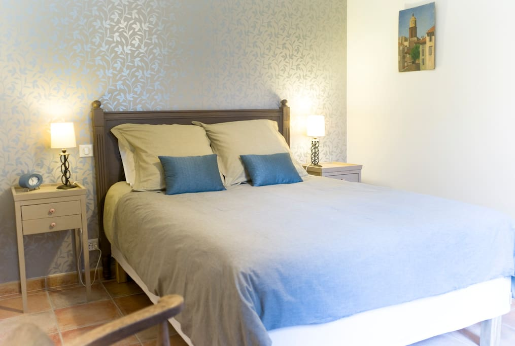 Bedroom in pretty muted colours, perfect for a sound night's sleep