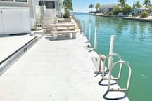 Ladder for easy access and picnic table for you and your guest!