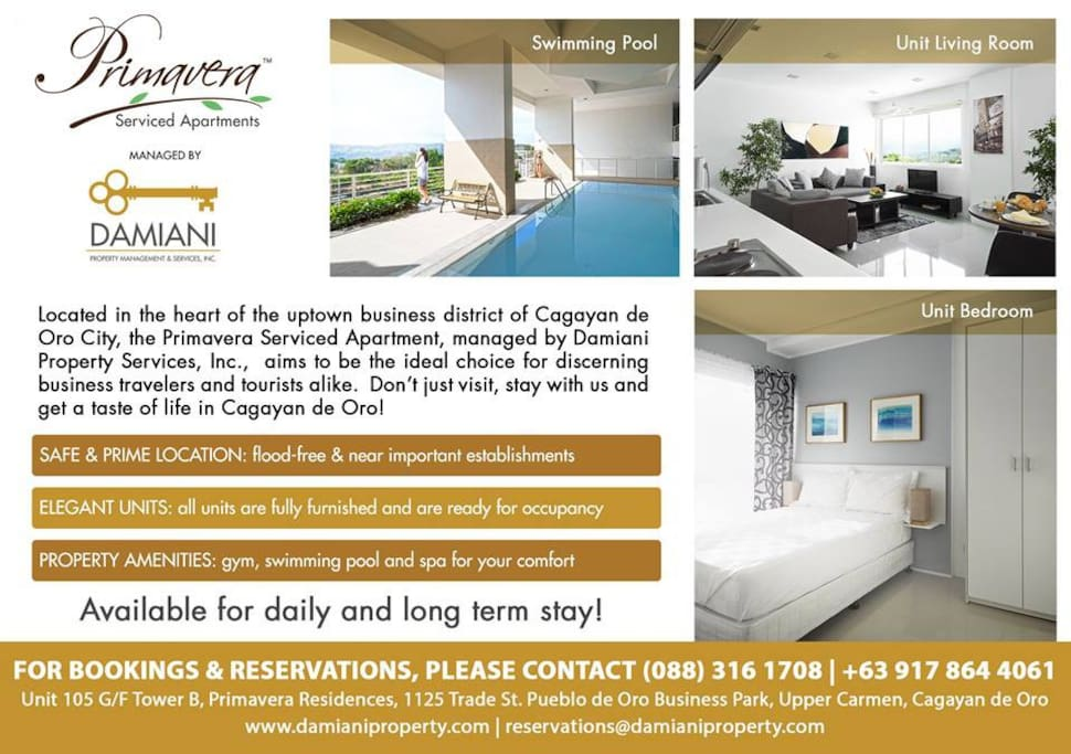 Modern Units & Amenities with Excellent Customer Service, Make us Your Home in uptown Cagayan de Oro available for daily and long term stay. BOOK NOW!  Contact us at (088) 316-1708 / +63 917 864 4061 or you may visit our website at www.damianiproperty.com