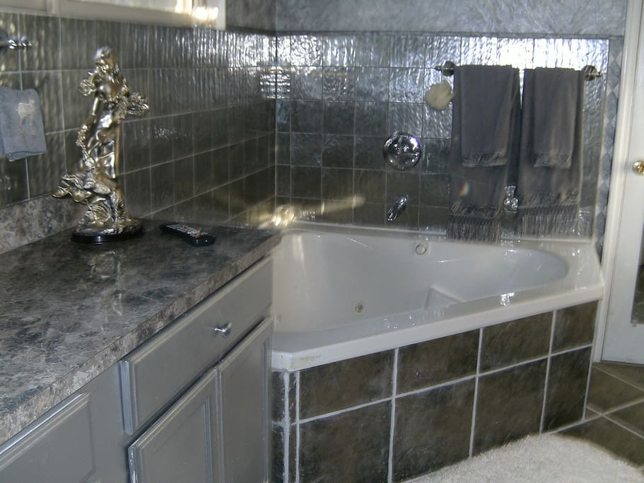 Your private bathroom with jacuzzi tub and separate shower.