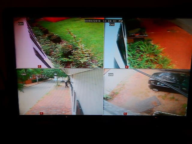 Close up of views on security monitors that provide a 360 view around building.
