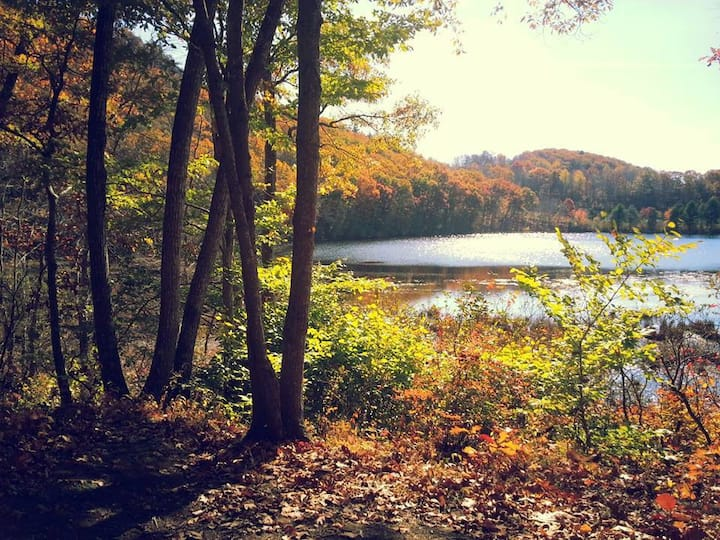 Passing beautiful Lantern Hill Pond