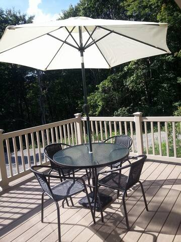 The Deck offers a spectacular view of Chestnut Ridge.