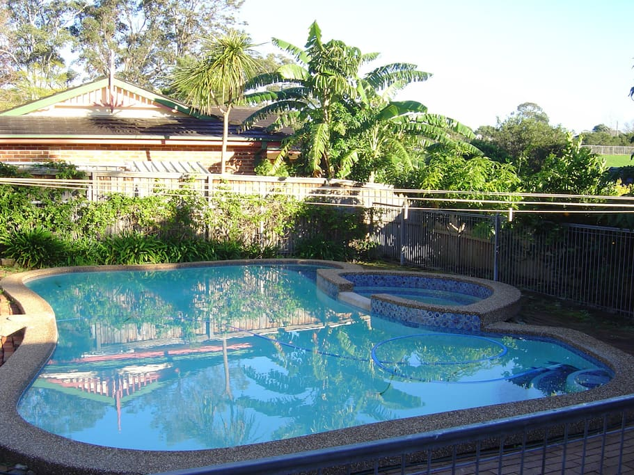 Crystal clear swimming pool in backyard, ready for you to jump in.