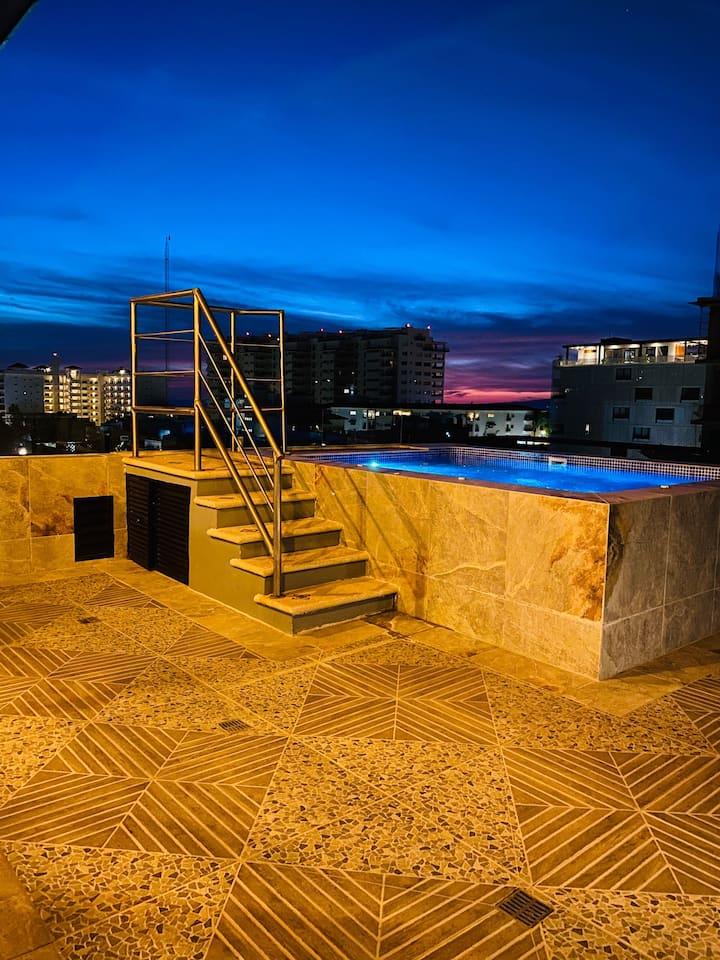 **A/C Zona Romantica Rooftop/Pool WIFI Apt#3**