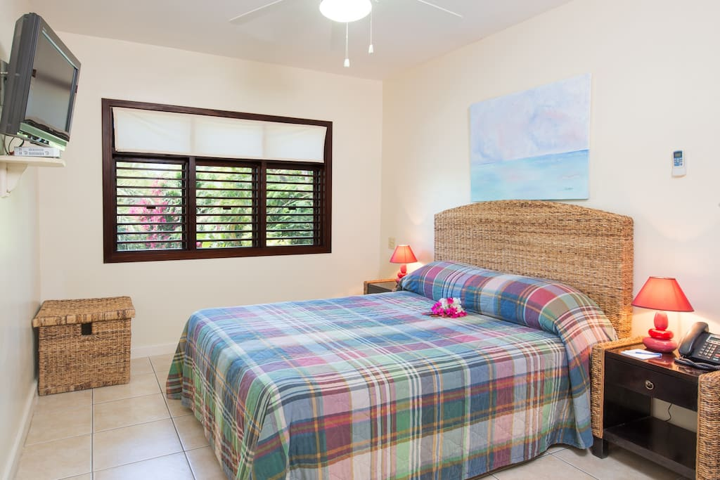 the spacious bedroom with both fan and A/C.