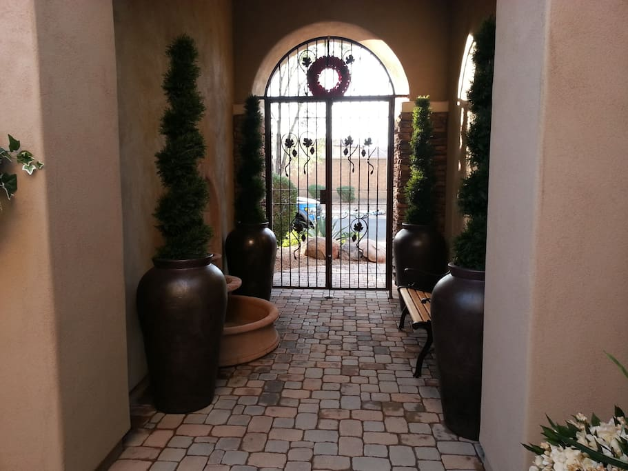Entry way to the courtyard, with water fountain