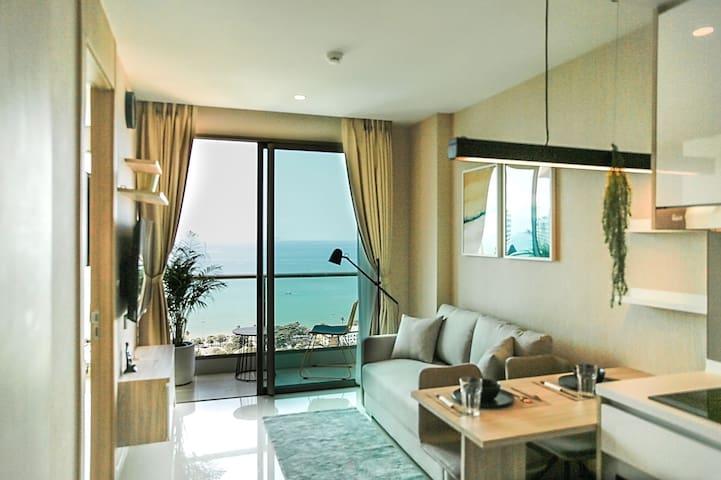 全新超大正海景一居室五星级公寓酒店Riviera/芭提雅管接入住