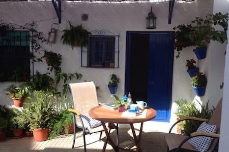 Casita azul en patio andaluz. - Conil de la Frontera