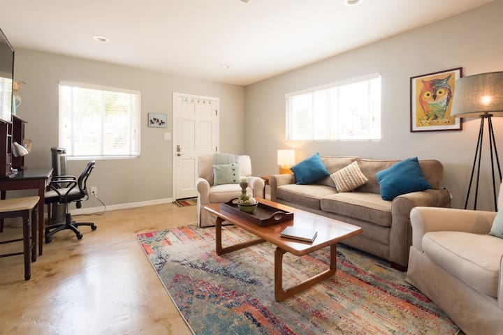 Private, modern 1 BR flat has easy no-step access.