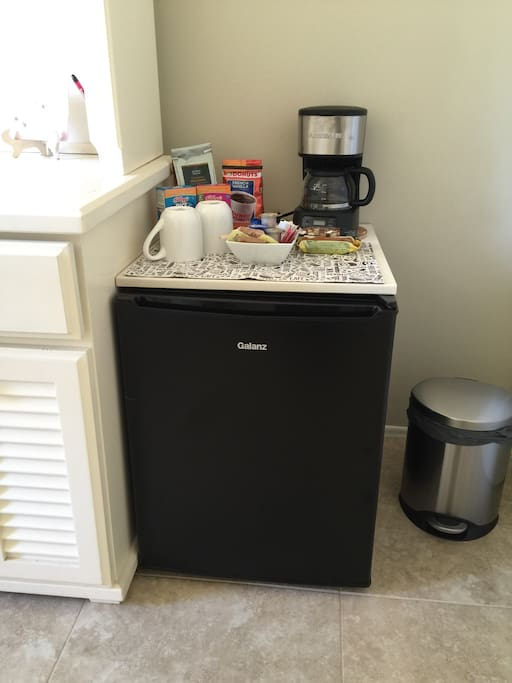 Mini refrigerator and coffee maker to enjoy at any time!