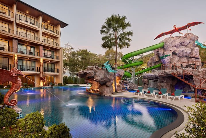 Aonang Water slide pool,Center location,Near beach