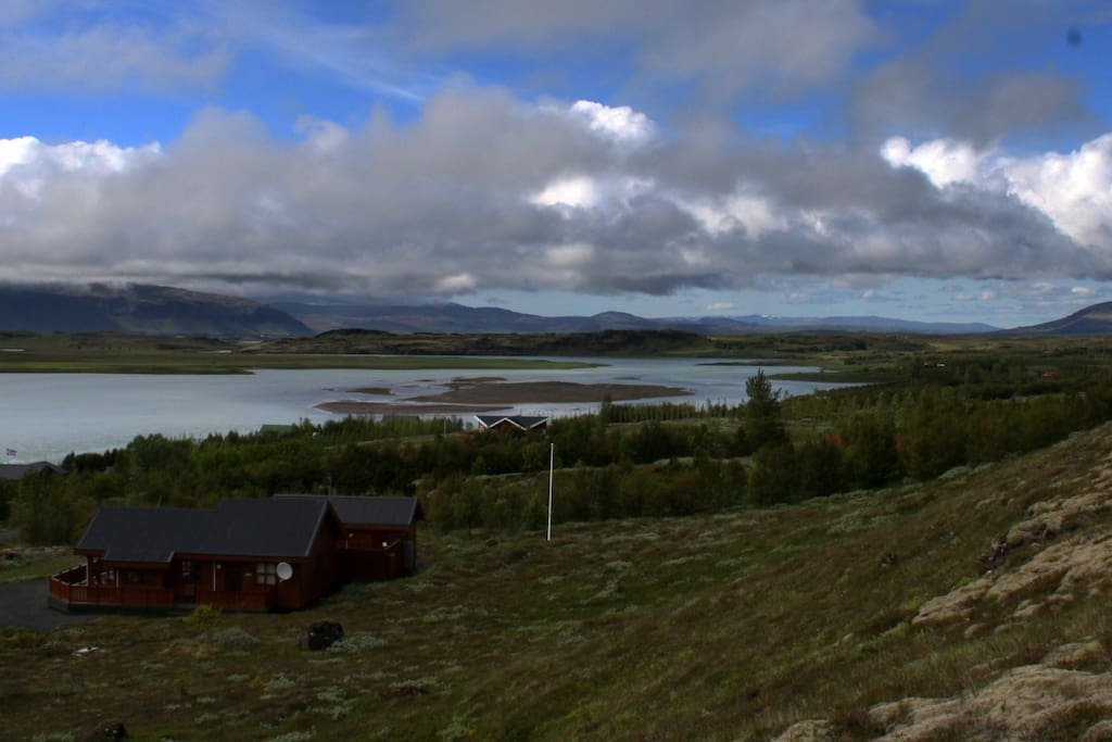 A view from the hill behind the house over Hvítá (the river, in which Gullfoss is).