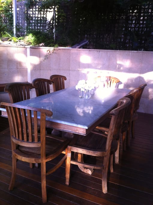 Outdoor dining on the back deck