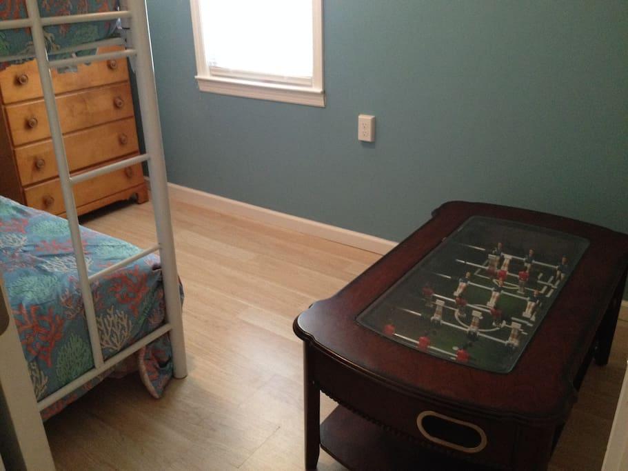 foosball table in bedroom