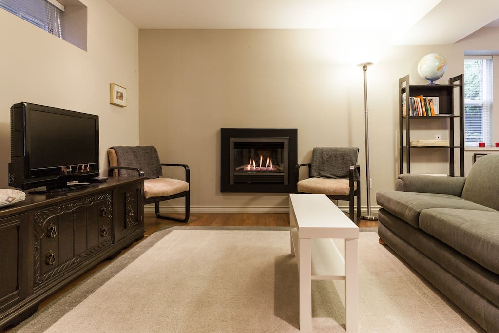 Living room has a modern gas fireplace