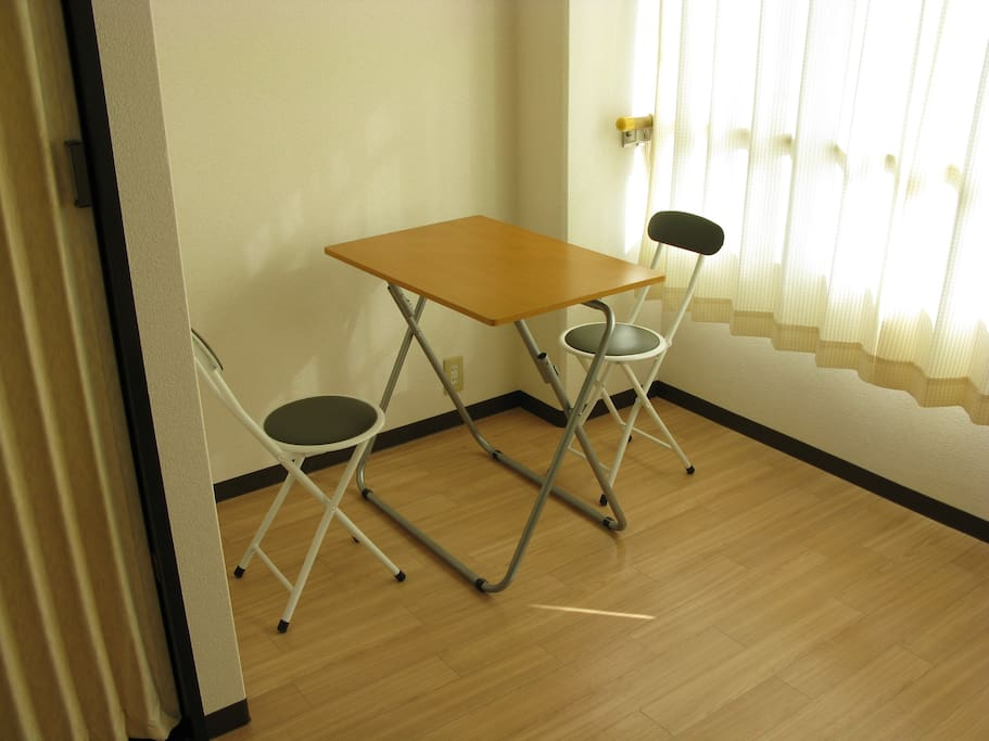 Table & chair are light, movable