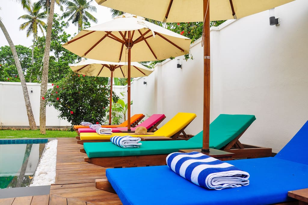 The ideal way to while away the day ! Our pool towels are provided for our guests.