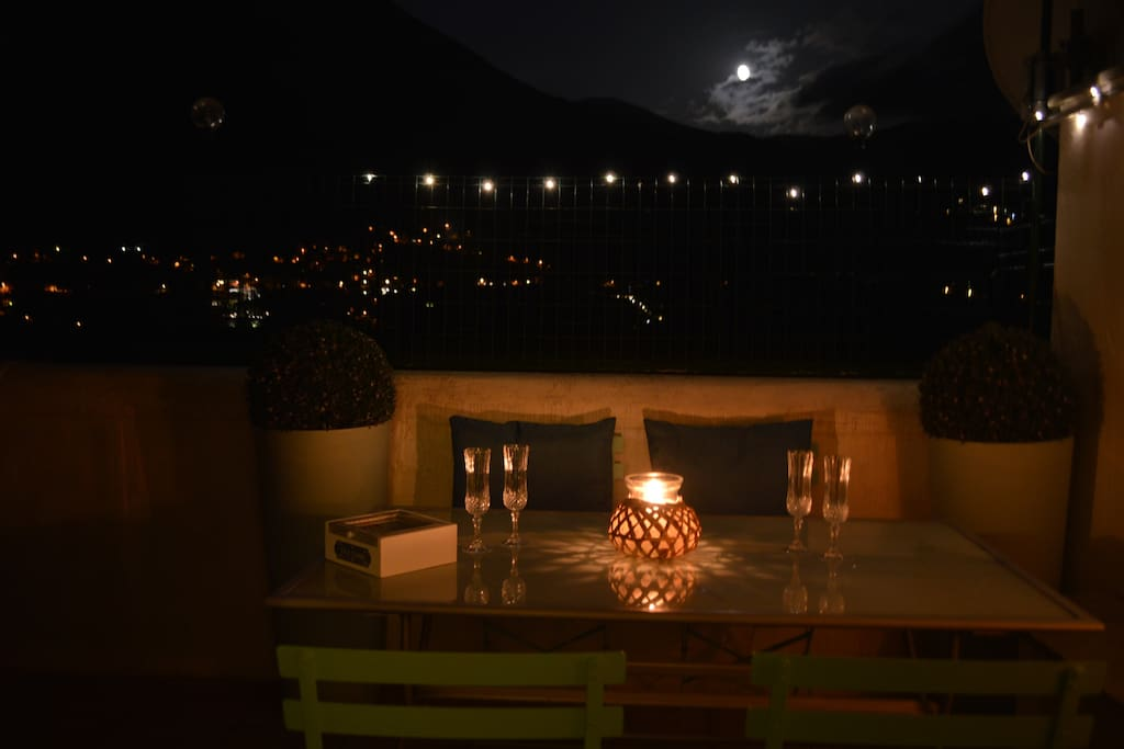 Moonlight view from the Patio and Terrace