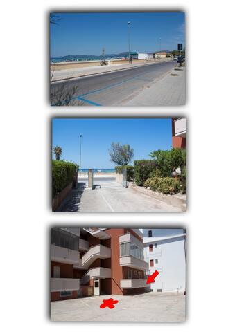 Posto auto privato e secondo balcone, ingresso e distanza dal mare