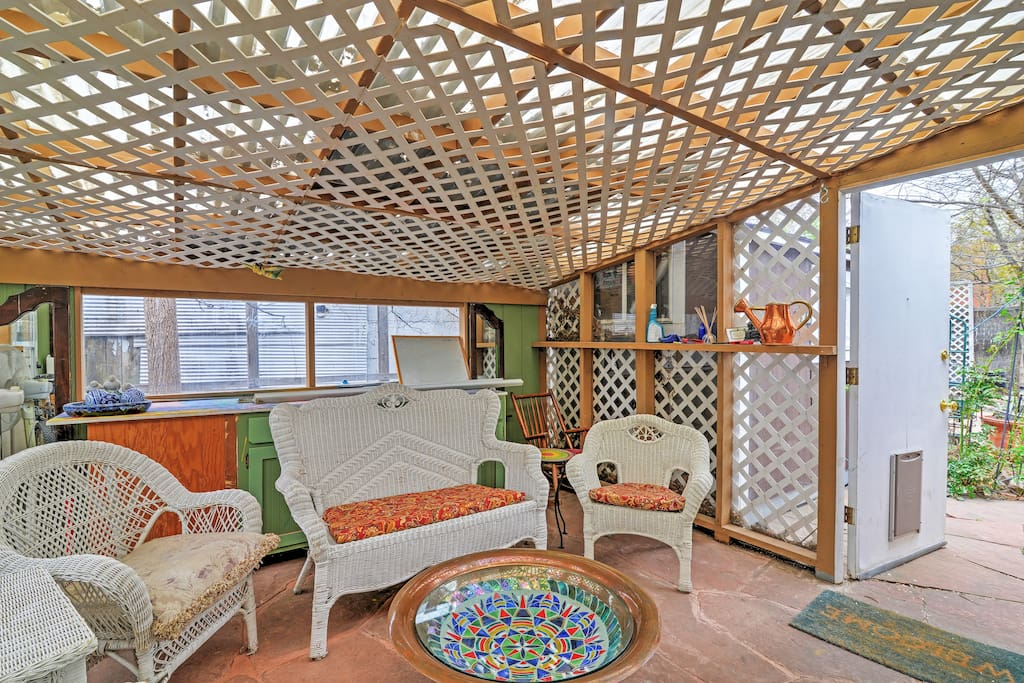 Relax on the covered porch.