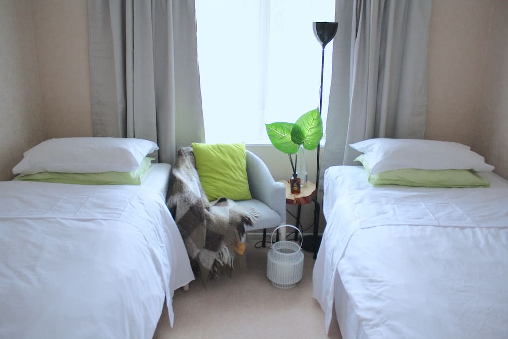 Your bedroom - single and king single beds set up
