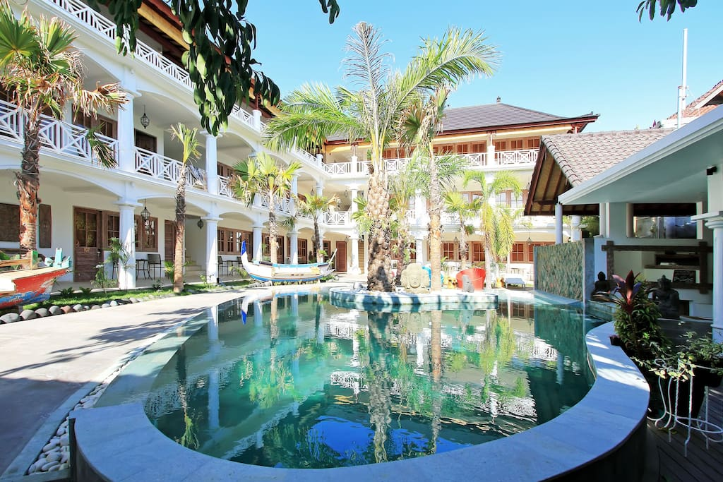 Resort Atrium with pool for our guests.