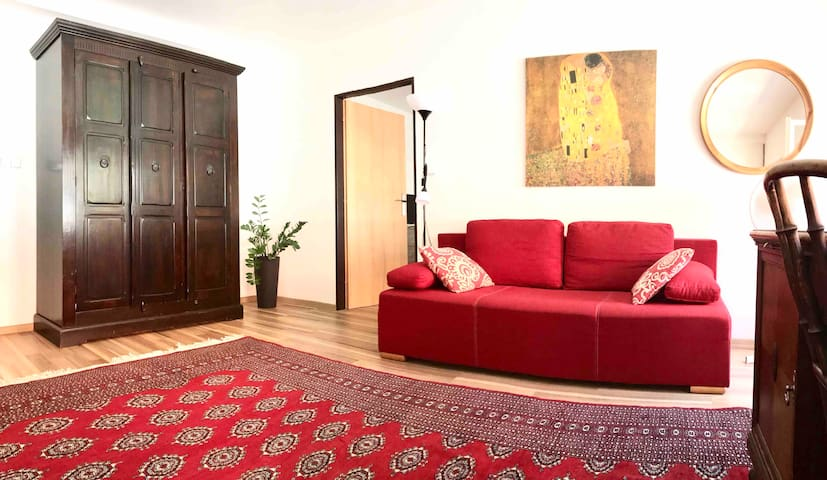 Two bedrooms flat with pretty big kitchen/living room is situated right in the centre of Prague - on the border of Old Town and New Town. Enjoy your stay in fully equipped flat - Netflix TV, high speed WiFi, washer/dryer, kitchen with all equipment.