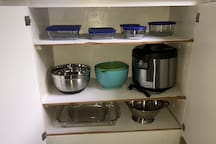Anything you may need to cook a meal, also a rice cooker