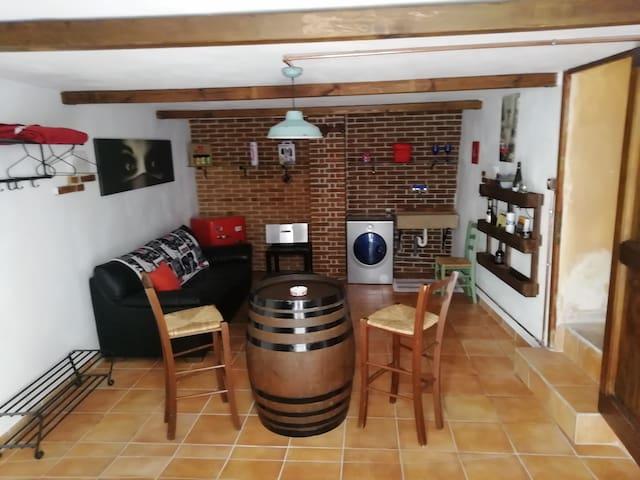 Taverna open space con divano letto