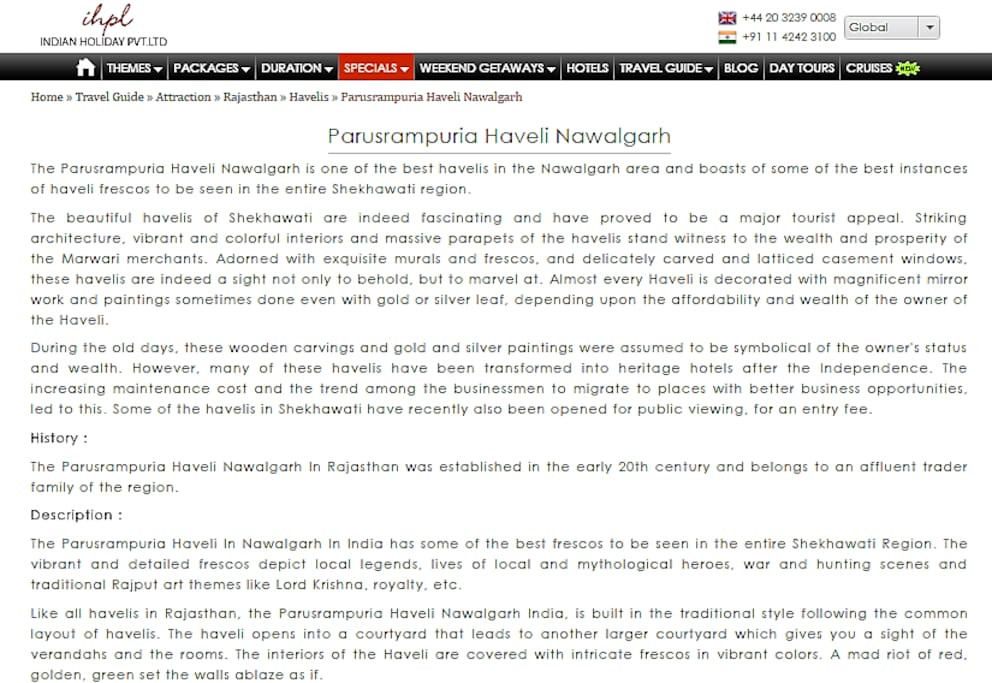 Blog on Parasrampuria Haveli