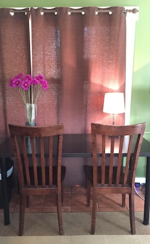 Table with two chairs.