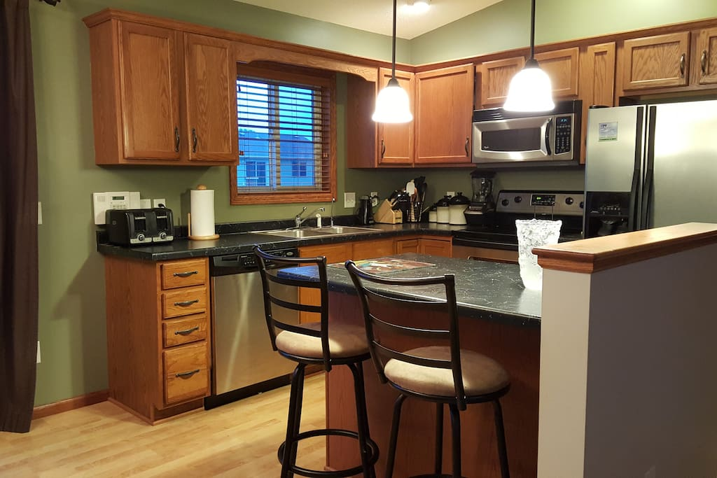 Stainless Appliances with Breakfast Bar