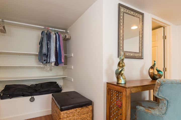 Closet space with hangers
