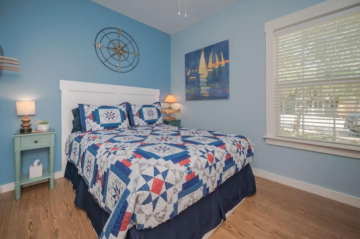 Nautical bedroom celebrating the beauty, fun and adventure of life lived near the water