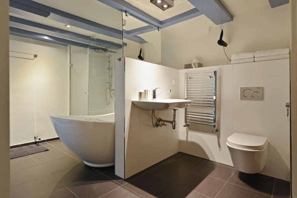 private bathroom with bath and douche