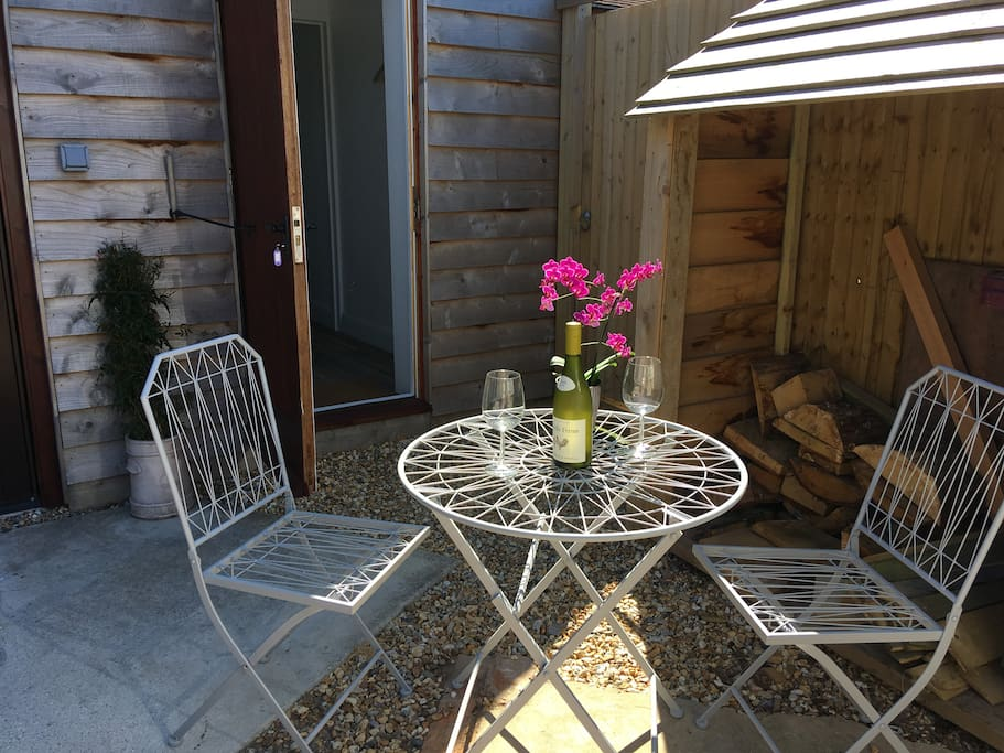 Small, sunny, outside area for guest use