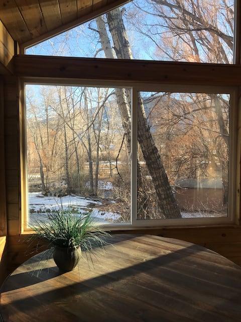 Salida Cabin overlooking the Little Arkansas River