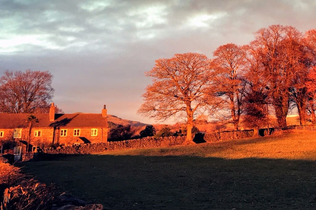 And in winter too! The cottage is surrounded by beautiful fields and fells.  Tree Cross Cottage is the right hand property in this picture.