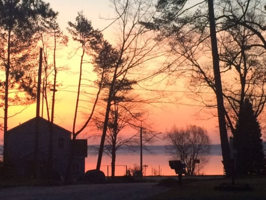 View from the living room window at sunrise!