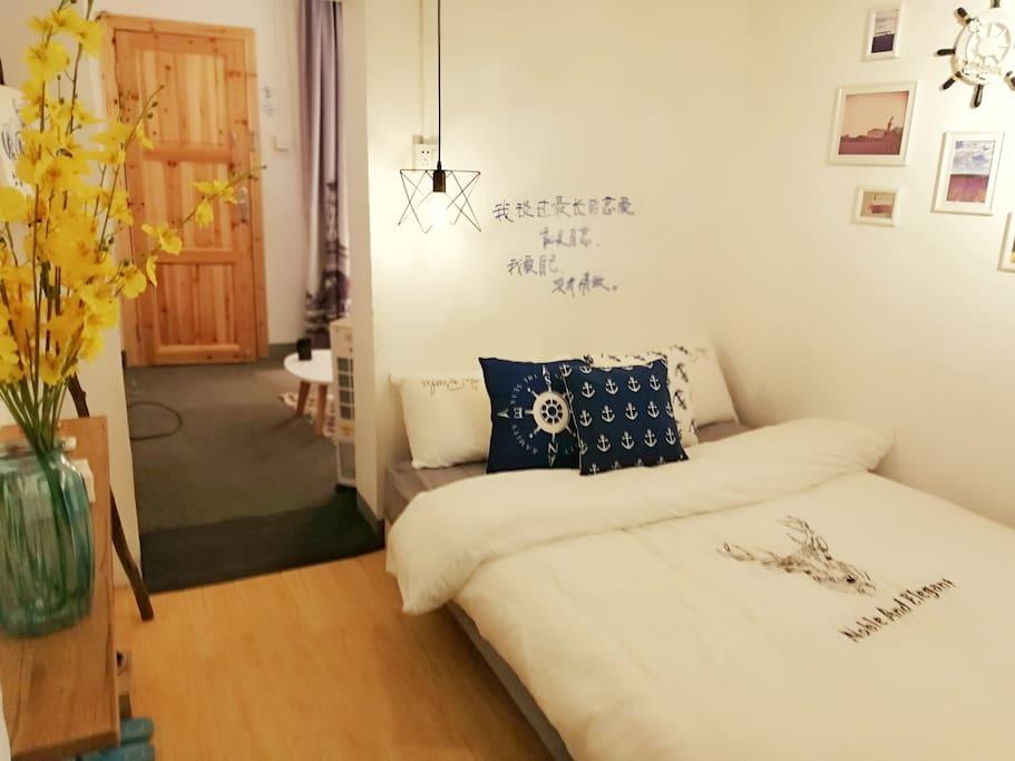 一房一厅,厅里有沙发床