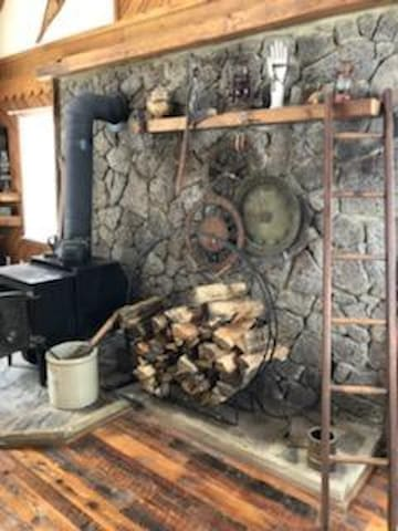 Living room with wood stove