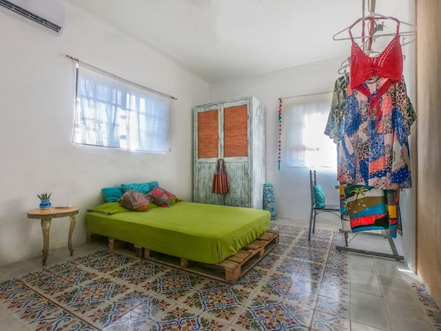 Cozumel Centro - bedroom with A/C.