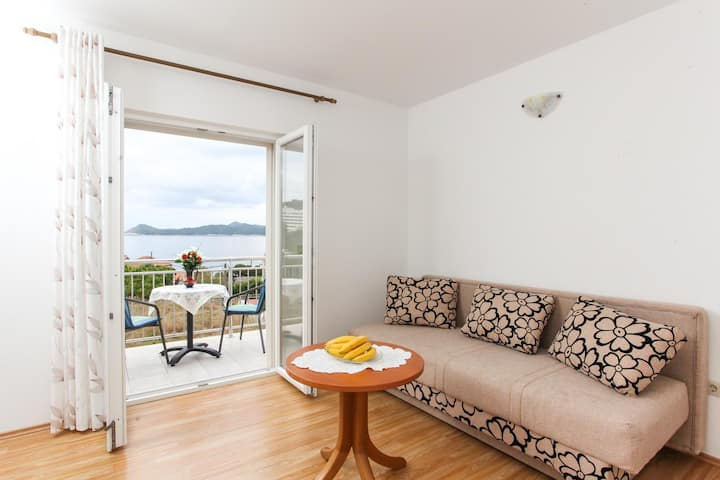 One bedroom apartment with balcony and sea view Lopud, Elafiti (A-12910-c)