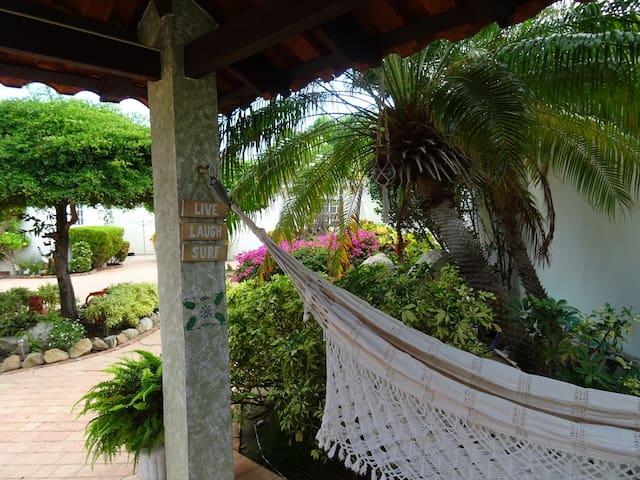 The studio apto. is located in a beautiful garden.