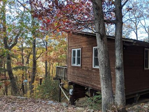 Szép kis kunyhó az erdőben.