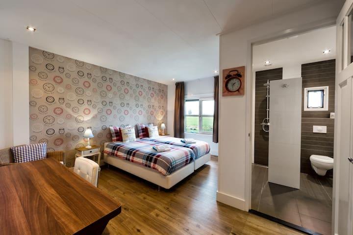 Slaapkamer 2 met eigen badkamer (stortdouche, badmeubel en toilet), bureau, gratis Wifi .