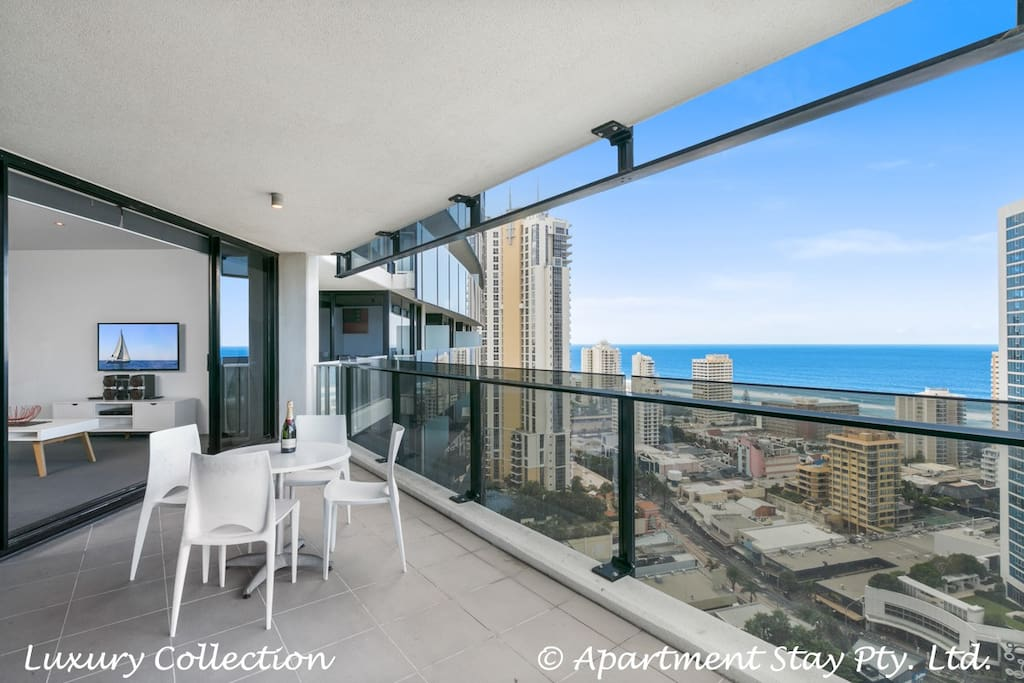 Large entertaining balcony with gorgeous ocean views . Outdoor Table And Chairs
