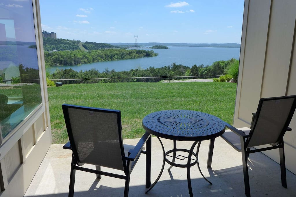 Private covered patio overlooking Table Rock Lake.